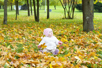 A Child in the Autumn on the Nature.