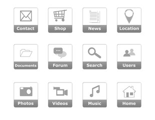 Buttons for website menu in gray color