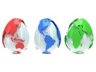 Earth planet globes like eggs. 3D render.