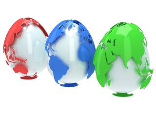 Earth planet globes like eggs. 3D render.