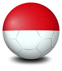 A soccer ball with the Indonesian flag