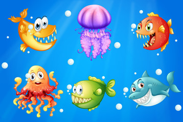 A sea with smiling creatures