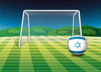 A football field with the flag of Israel