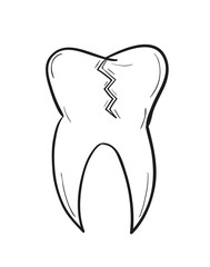 sketch of the tooth with defect