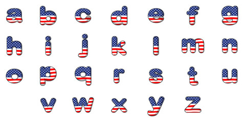 Letters of the alphabet with the American flag design
