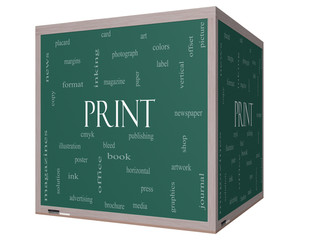 Print Word Cloud Concept on a 3D cube Blackboard