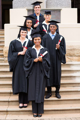 group of young college graduates