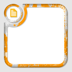 orange box for inserting text with pattern and note icon