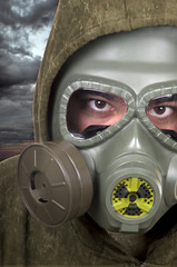 portrait of soldier with gas mask