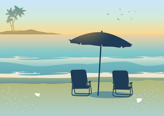 Illustration of relaxing canopy near the beach