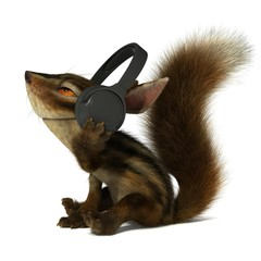 Squirrel in the headphones