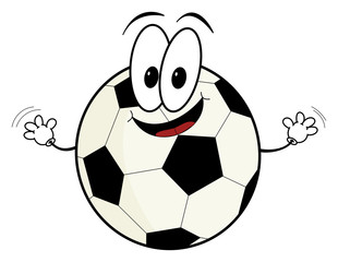 Happy cartoon soccer ball character