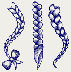 Women braid. Doodle style