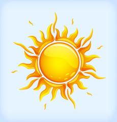 Bright orange sun is shining
