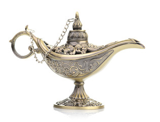 Aladdin magic lamp isolated on white
