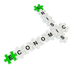 Crisis economic 3d puzzle on white background