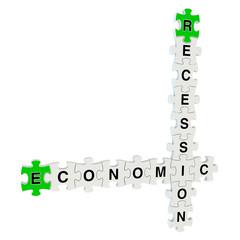 Economic recession 3d puzzle on white background