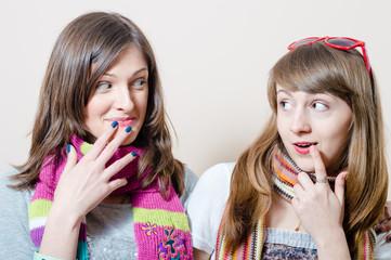 Beautiful young women friends having fun
