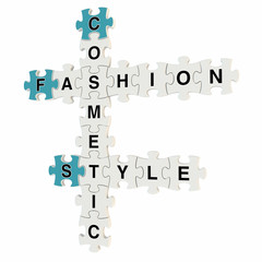 Fashion style 3d puzzle on white background