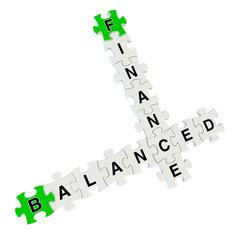 Finance balanced 3d puzzle on white background