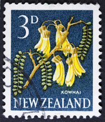 Flower post stamp printed in New Zealand,