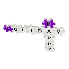 Happy holiday 3d puzzle on white background