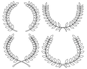 Outline of different laurel wreaths, vector illustration