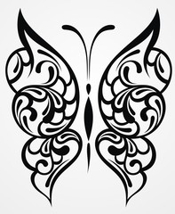 Black butterfly on white background