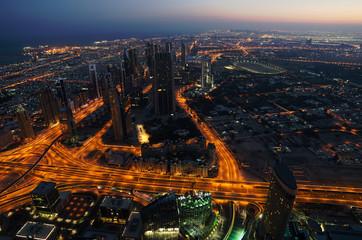 Downtown of Dubai (United Arab Emirates) at night.