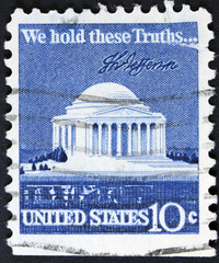 Vintage building on a USA postage stamp.