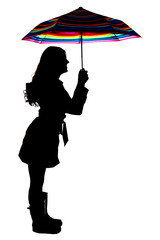 Silhouette of a woman holding a colorful umbrella