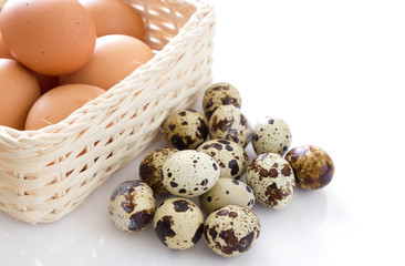 Quail eggs and eggs isolated on white background