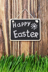 blackboard with wishes for a happy Easter