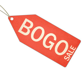BOGO Buy One Get One free Red Tag and String
