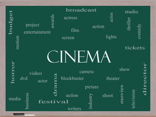 Cinema Word Cloud Concept on a Blackboard