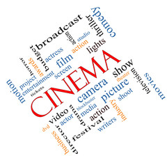Cinema Word Cloud Concept Angled