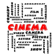 Cinema Word Cloud Concept in Bold Letters