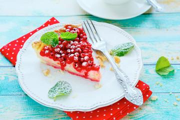 piece berry tart with cream