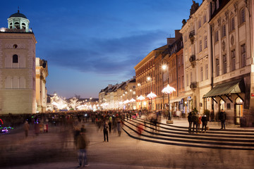 City of Warsaw in Poland at Night