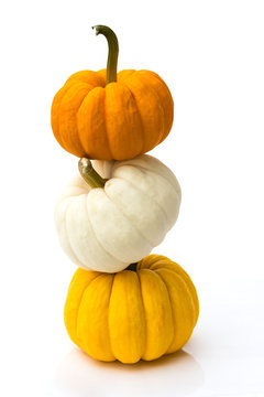 Stacked of pumpkins isolated on white background