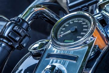 Motorcycle peedometer and handlebar.