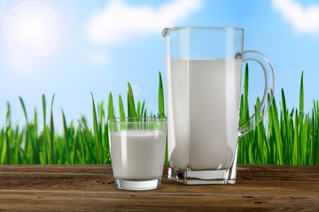 glass and carafe with milk