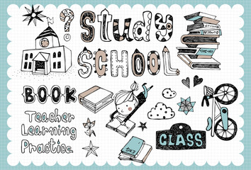 Hand drawn school set_A