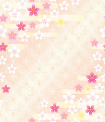 桜と麻の葉模様の背景