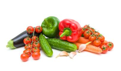 Fotobehang Keuken fresh vegetables isolated on white background