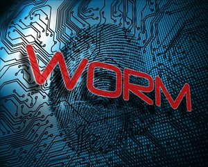 Worm against illustration of blue fingerprint