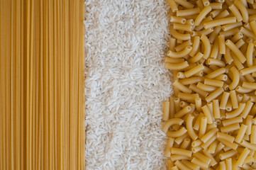 spaghetti,rice and macoroni textures
