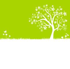 Baum Wiese Silhouette grün