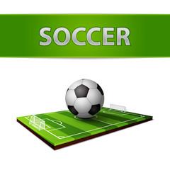 Wall Mural - Soccer ball and grass field emblem