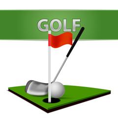 Wall Mural - Golf Ball Club and Green Grass Emblem